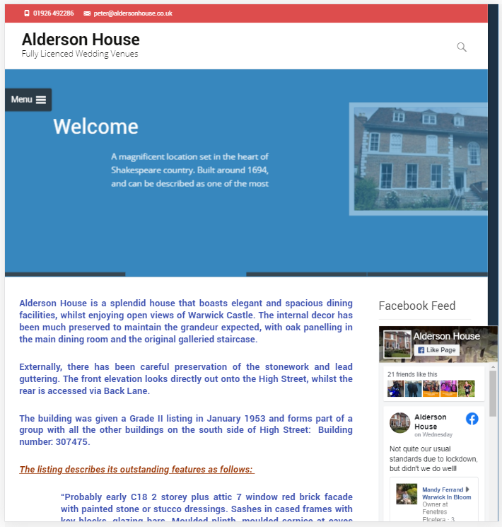 Alderson House Wedding venue Warwick