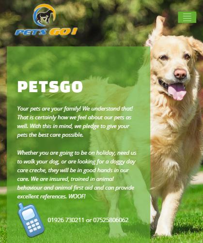 PegGo website Dog running